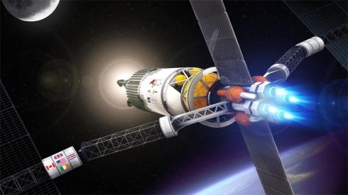 Representación artística de una nave con motores de plasma