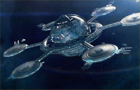 Recreacion futurista de una estacion espacial