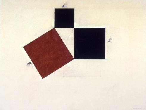 Imagen 2 - Mel Bochner - Teorema de Pitágoras (cuadrado rojo)