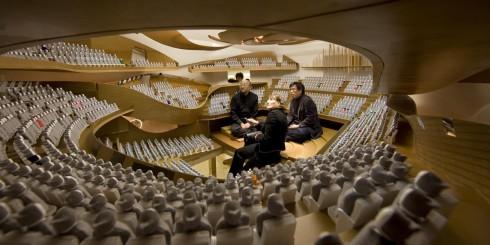 Maqueta 1:10 de la Philarmonía de Paris. El trabajo es tan detallado que se incluyen, incluso, los espectadores en miniatura. Foto de Nicolás Borel. http://www.philharmoniedeparis.com/en/medias/music