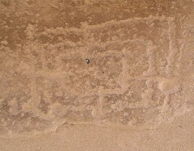 Tablero del Morris de nueve hombres, en la base de una de las columnas del Ramesseum, el Templo en honor a Ramsés II construido en el siglo XII a.c.