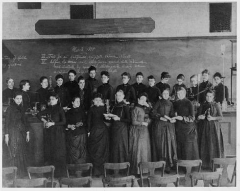 Ellen Richards, primera por la izquierda, con sus alumnas. MIT, 1888.