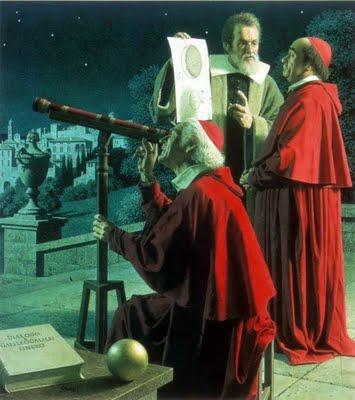 """Galileo Galilei (1564-1642). En esta pintura de Jean-Leon Huens, Galileo intenta convencer a los escépticos eclesiásticos de que en la Luna hay montañas y de que el planeta Júpiter tiene varias lunas propias. La jerarquía católica no se dejó convencer. Galileo fue procesado por """"sospecha grave de herejía"""". Condenado gracias a un documento falsificado, pasó los últimos años de su vida bajo arresto domiciliario, en su pequeña casa de las afueras de Florencia. Galileo fue la primer persona que utilizó el telescopio en el estudio de los cielos."""