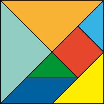 Cuadrado formado por las siete piezas del Tangram