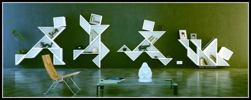 Diseño de estanterías realizado con las piezas del Tangram