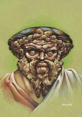 Caricatura de Pitágoras, realizada por Basabe para la exposición El Rostro Humano de las Matemáticas